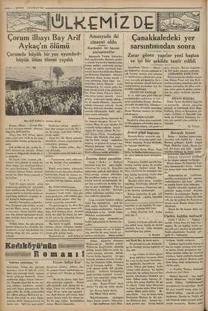 ii sea 5 — KURUN 8 HAZİRAN 1935 ÜLKEMİZDE Çorum Mai Bay Arif Aykaç'ın ölümü Çorumda büyük bir yas uyandırd»: büyük ölüm...