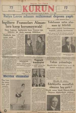 55 SAYIFA Pa SAYIFA 18-1 inci Yıl © Sayl- 6322-2862 $ Perşembe 15 Ağustos © nci ay) 1935 Ttalya Leros adasını mühimmat...