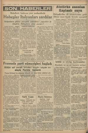 """""""e 2 — KURUN 17 ŞUBAT 1936 SON HABERLER Makallede başlayan yeni muharebede """"Habeşler Italyanları sardılar rüzgârla o Londra,"""