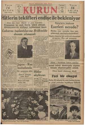 Yarın 716 İSAYIFA | | 100 Para YIL: 19-2 SAYI: 6539. iSTANBUL Y arın Dİ sanı | SAYIFA 100 Para Hitlerin teklifleri...