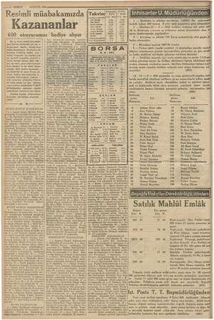 A KE alli — KURUN 10 EYLOL 1936 Resimli müabakamızda Kazananlar 600 okuyucumuz hediye alıyor Bir ay süren resimli müsabaka-