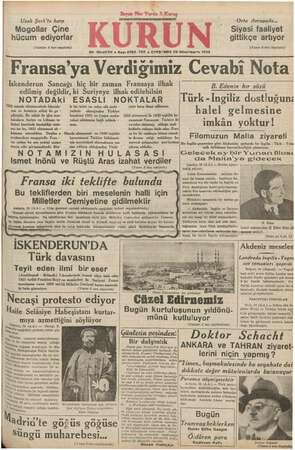 Uzak Şark'ta harp Mogpollar Çine hücum ediyorlar (Yazları 2 inci sayfada) NOTADAKi 1922 manda ahtnamesinde İskende- ESASLI N