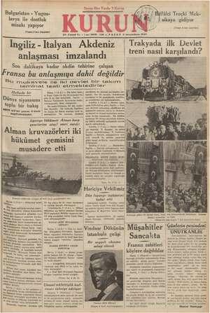 Bulgaristan - Yugos- lavya ile dostluk misakı yapıyor (Yamsı 2 inci Sayıfada) KT EE A 20-3üncü Yu e Sayı 6819-759 e PAZAR 3
