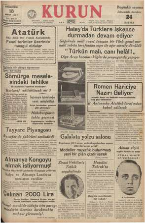 Bugünkü sayımız İlâvemizle beraber — Ankara Caddesi adresi: Kurun . İstanbul el kutusu: 46 (İstanbul) s.o a 0.0 di li (Yazı),