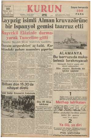 PAZAR Haziran 1937 Yıl: zo 3 Sayı: 6982-1042 a Cadı Posta kutusu: 46 bidalal) Laypzig isimli Alman kruvazörüne bir Ispanyol