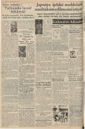 2 — KURUN 10 AĞUSTOS 1937 Yalova mektupları: 7 Yalovada fenni tekâmül Su kürü yapanlar için kaplıcalar, artık her türlü şia