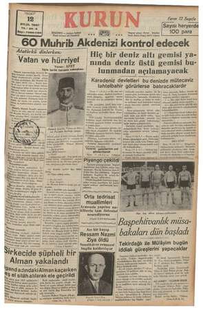 MEAL EYLUL 1937 YIL: 20-3 Sayı: 7066-1156 Yarın 72 Sayıfa Sayısı heryerde 100 para Telgrat » İstanbul Telef, 21413 (Yası),