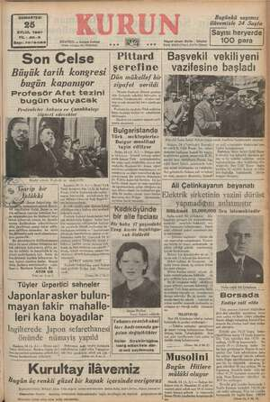 ij — er — GUMARTESİ 25 EYLUL 1937 YIL: 20-3 17079-1169 ISTANBUL «— ww PER Posta kutusu: 46 (İstanbul) seo s0 ERMESİ Bugünkü