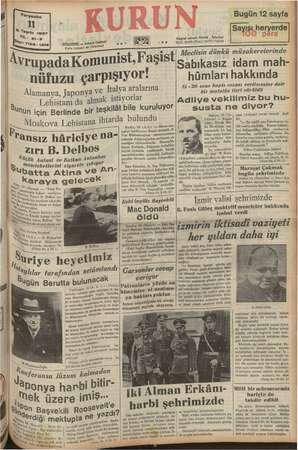 Perşembe » 20 : 7126-1216 İSTANBUL — Ankara Gl Posta kutusu? 46 (İ5t9 7 Avrupada Komunisi, Faşist nüfuzu çarpışıyor!...