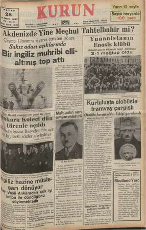 X Teşrin 1937 : 21-8 $ YI: 71as. 1233 İSTANBUL —— Ankara Csdöetl Pösta kutusu! 46 (istanbul) Akdenizde Yine Çeşme Limanını