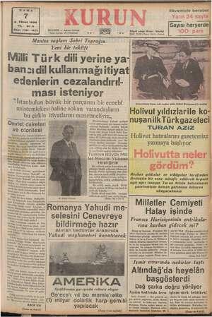 GUMA 7 2. Kânun 1938 YIL: 21-3 Sayı: 7181- 1271 ELE Ç UAN e ISTANBUL — Posta kutusu! 46 (İstanbul) ME Manisa saylavı Sabri