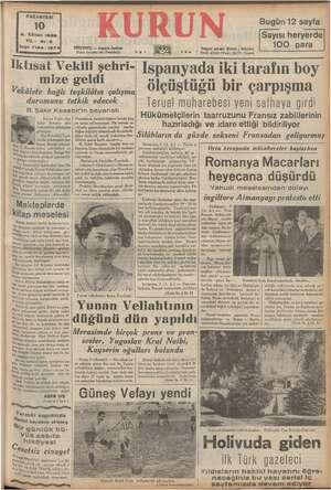 PAZARTESİ 10 2. Kânun 1938 YIL: 2-3 Sayı: 7184 - 127 'ANBUL — Ankara Caddesi Posta kutusu: 46 (İstanbul) .. RS , Telgraf