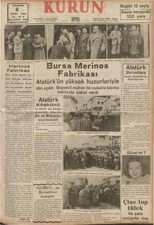 Bilirim Perşembe ŞUBAT 1938 İSayı:7208 - 1298 Merinos Fabrikas Her sene harice gi den birçok milyon- lar Jar bu Yu mühim...