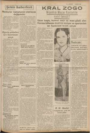 3 — KURUN * 7 ŞUBAT 1938 Şehir haberleri   Memurlar kanununda yapılacak değişmeler Memurlar kanununda yapılacak 05 a MM