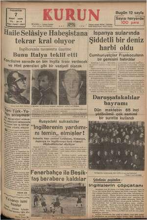 ———————— PAZARTESİ MART 1938 YIL: 21-3 Sayı: 7237-1327 ISTANBUL — Ankara Caddesi ( Telgraf * Kurun , İsfanBul a, Posta...
