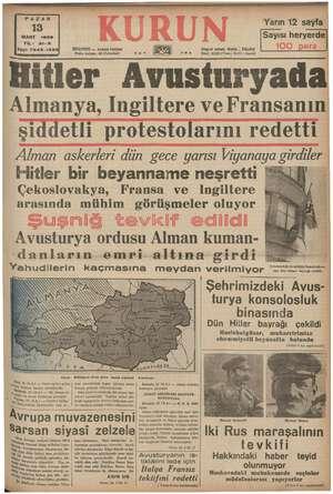 PAZAR 13 MART 1938 YIL: 21-8 Semen 7243- irki ISTANBUL - Ankara Caddesi Posta kutusu: 46 A stanbul) #0. , GE Yarın 12 sayfa