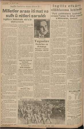 2— KURUN 15 MART 1938 ingiliz haricive nazırı diyor ki Milletler arası itimat ve sulh ümitleri sarsıldı ingiltere fevkalade