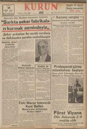 """ymm . """" SALI 19 NISAN 1938 YIL: 21-3 3ayı: 7280-1370 İSTANBUL — Ankara Cadde Posta kutusu: 46 (İstanbul) »00 Başvekil dün"""