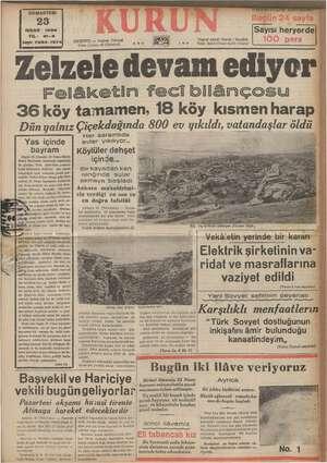 CUMARTESİ 283 NISAN 1938 YIL: 21-3 Sayı: 7284-1374) s İSTANBUL — Ankara Caddesi Posta kutusu: 46 (İstanbul) Telgraf...