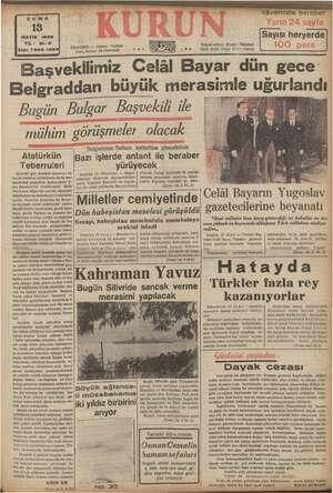 Sayı: 7304-1394) Beleraddan büyük meras STANBUL — Ankara Caddesi Posta kutusu: 46 (İstanbul) Bugün Bulgar Başvekili ile...