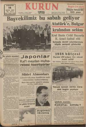 CUMARTESİ 14 MAYIS 1938 YIL: 21-3 Sayı: 7305-1395 ez STANBUL — Ankara Posta kutusu: 46 (İstanbul) Caddesi AĞ Telgraf...