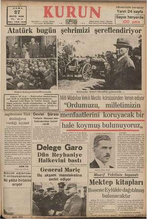 MAYIS 1938 YIL: 21-3 Sayı: 7318-1408| ONDA, Tl mar STANBUL — Ankara Caddesi Posta kutusu: 46 (İstanbul) ilâvemizle beraber