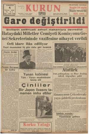 KN i GUMARTESİ A ml İnam e İma K AN Haziran 1938 YIL: 21-3 Sayı: 7326-1416) İSTANBUL — Ankara Cadâ Posta kutusu: 46...