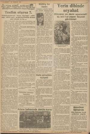 "4 —KURUN : İl HAZİRAN 1938 ag mi m Ny Pale Mi ET UMANLARINIL AVRENSİ İLANLARINI AREA, yi Teslim olursa ?. ""Kütülammareye"