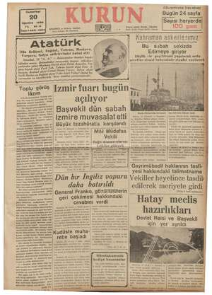 Gumartesi 20 Ağustos yi, . 21-3 s03 Sayı Post Caddesi INBUL — Ankara ta kutusu! 46 (İstanbul) Dün Brüksel, Bağda dal sef  