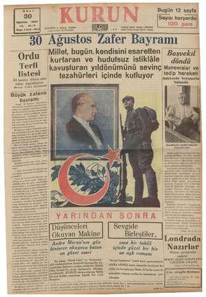 SALI 30 Ağustos 1938 Iı: 21-3 Sayı: 7413-1513 0 Ordu Terfi listesi Âli tasdike iktiran iyi listeyi neşrediyoru evanı 8