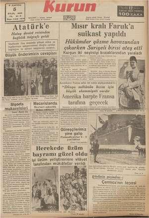 P .ZARTESİ EYLUL 1939 YıL. 21-3 Sayı: 7419 -151 Atati Hatay devlet reisinden bağlılık telgrafı amine sı sırasında yüksek