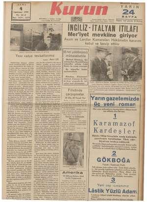 """CUMA Teşrinisani 1938 YIL; 22-3 Sayı: 7479 — 1579 """"Ankara radyosunun da hilinden iki görünüş ISTANBUL — Ankara Uaddesi..."""