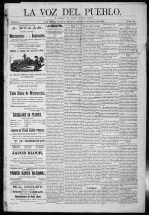 La Voz Del Pueblo Gazetesi 3 Ocak 1891 kapağı