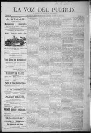 La Voz Del Pueblo Gazetesi 17 Ocak 1891 kapağı