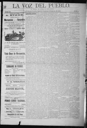 La Voz Del Pueblo Gazetesi 31 Ocak 1891 kapağı
