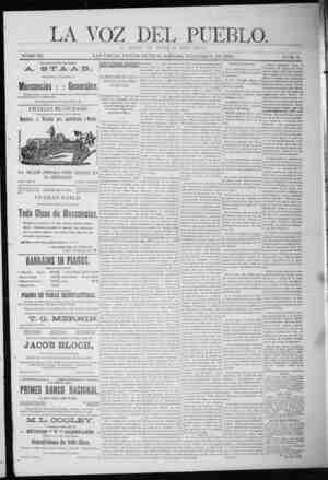 La Voz Del Pueblo Gazetesi 7 Şubat 1891 kapağı
