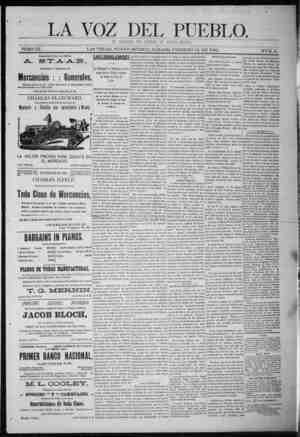 La Voz Del Pueblo Gazetesi 14 Şubat 1891 kapağı
