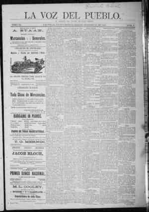 La Voz Del Pueblo Gazetesi 21 Şubat 1891 kapağı