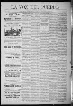 La Voz Del Pueblo Gazetesi 28 Şubat 1891 kapağı