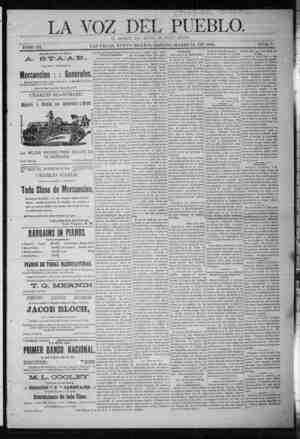La Voz Del Pueblo Gazetesi 14 Mart 1891 kapağı