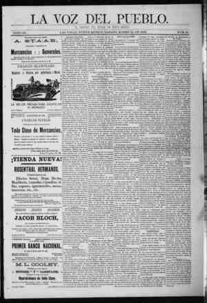 La Voz Del Pueblo Gazetesi 21 Mart 1891 kapağı