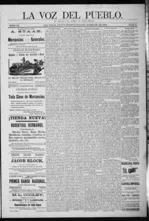 La Voz Del Pueblo Gazetesi 28 Mart 1891 kapağı