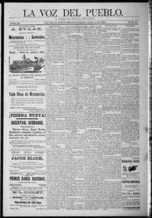 La Voz Del Pueblo Gazetesi 4 Nisan 1891 kapağı