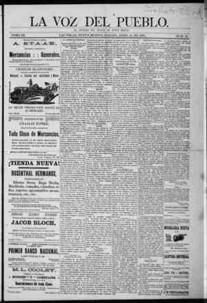 La Voz Del Pueblo Gazetesi 11 Nisan 1891 kapağı