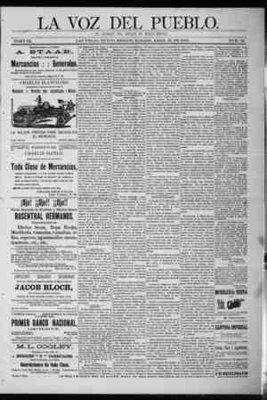 La Voz Del Pueblo Gazetesi 18 Nisan 1891 kapağı