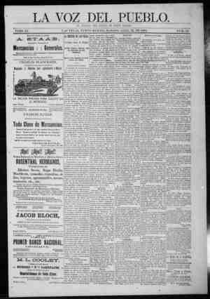 La Voz Del Pueblo Gazetesi 25 Nisan 1891 kapağı