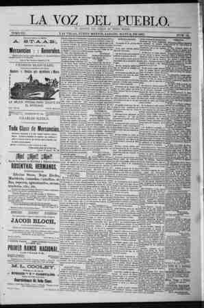 La Voz Del Pueblo Gazetesi 2 Mayıs 1891 kapağı