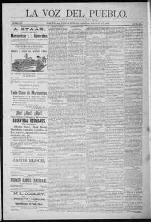 La Voz Del Pueblo Gazetesi 9 Mayıs 1891 kapağı