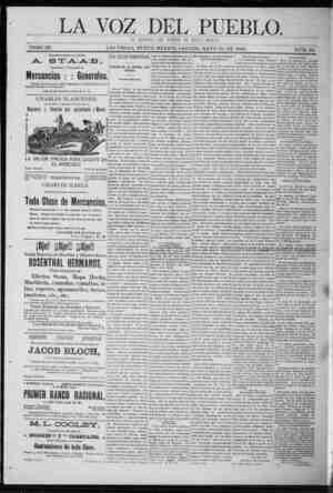 La Voz Del Pueblo Gazetesi 16 Mayıs 1891 kapağı