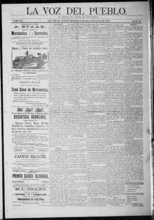 La Voz Del Pueblo Gazetesi 23 Mayıs 1891 kapağı